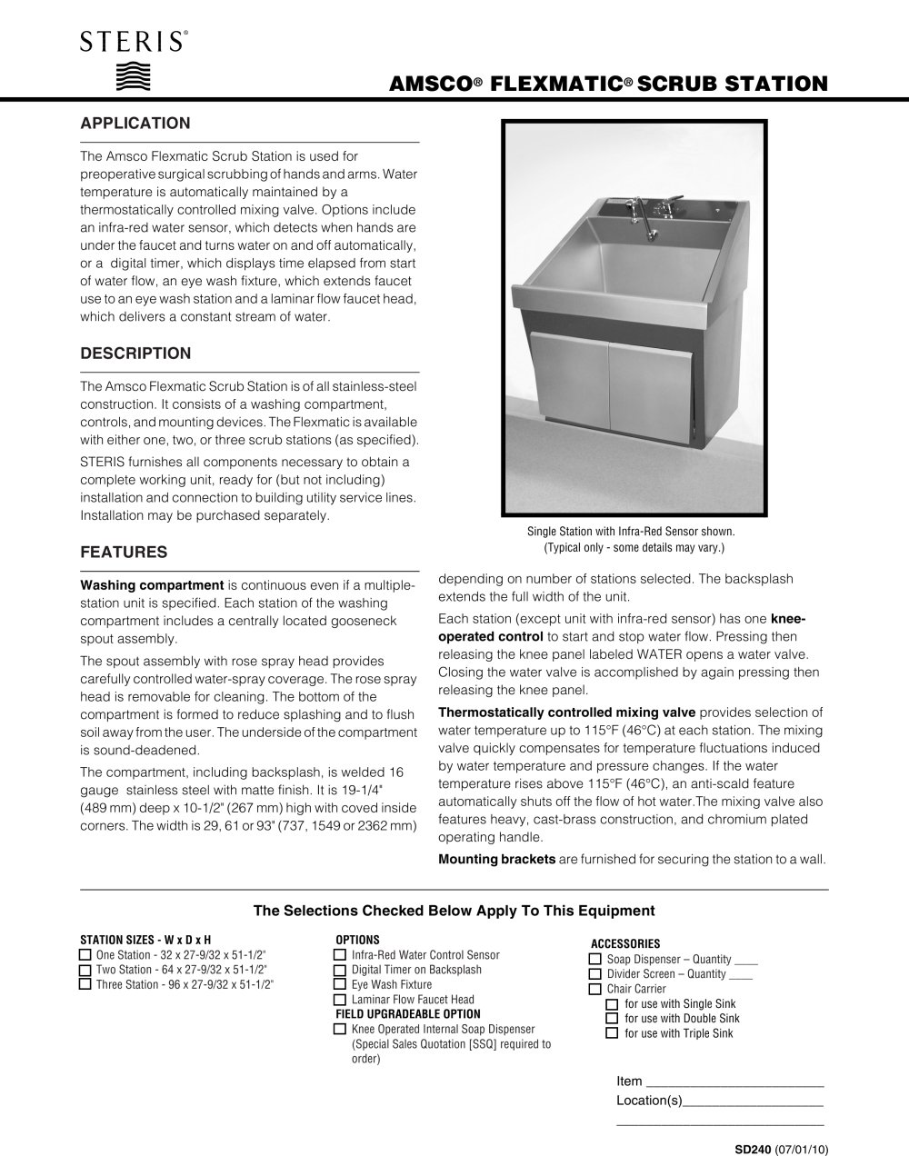 AMSCO FLEXMATIC SCRUB STATION - 1 / 4 Pages