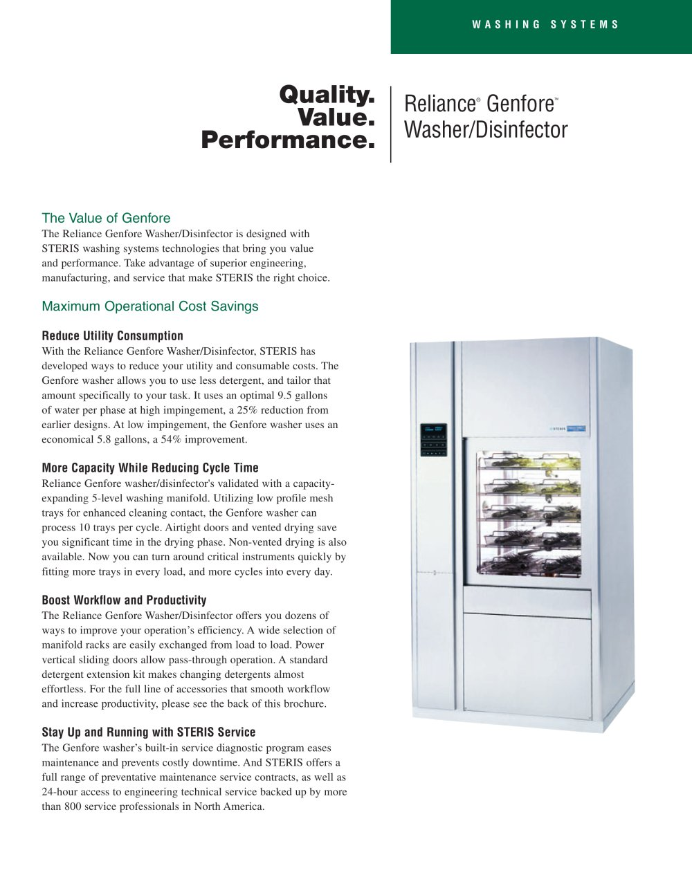 Reliance Genfore Washer/Disinfector - 1 / 2 Pages