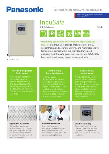 IncuSafe CO2 Incubator MCO-170AIC Product Sheet