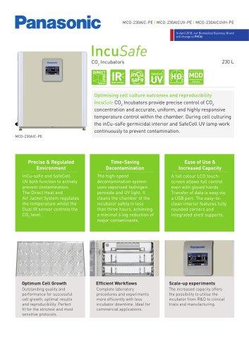 IncuSafe CO2 Incubator MCO-230AIC Product Sheet