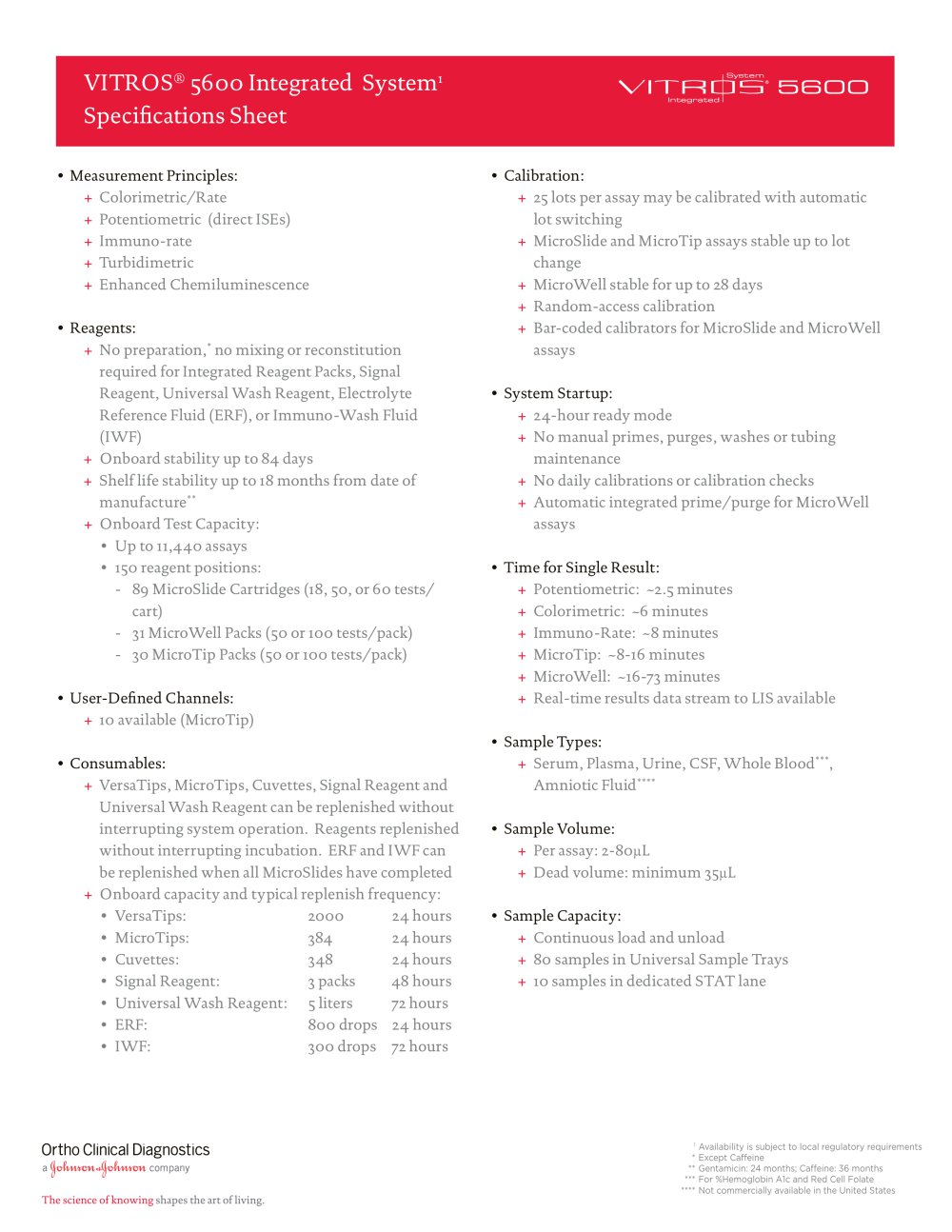 VITROS® 5600: Specifications Sheet - 1 / 2 Pages