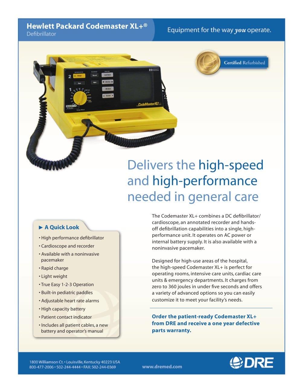 Refurbished - Hewlett Packard Codemaster XL Defibrillator - 1 / 1 Pages