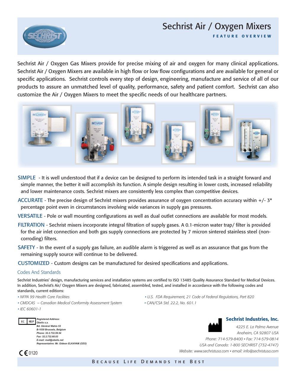 sechrist air oxygen mixers sechrist industries pdf catalogue rh pdf medicalexpo com sechrist millennium ventilator service manual pdf sechrist 3500hl service manual