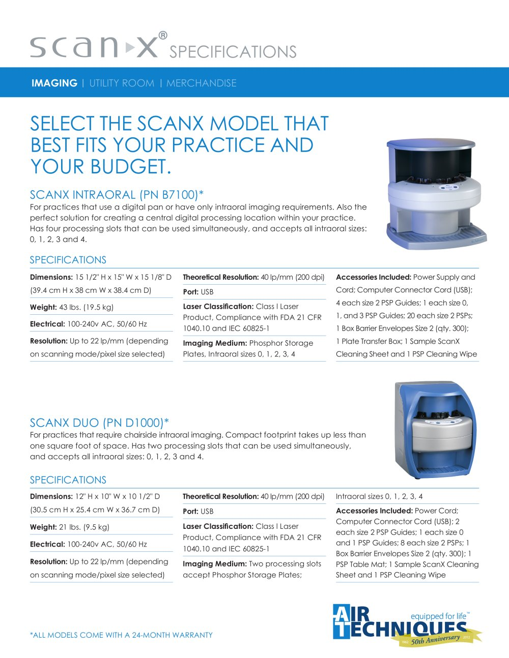 ScanX Specifications Sell Sheet   1 / 2 Pages