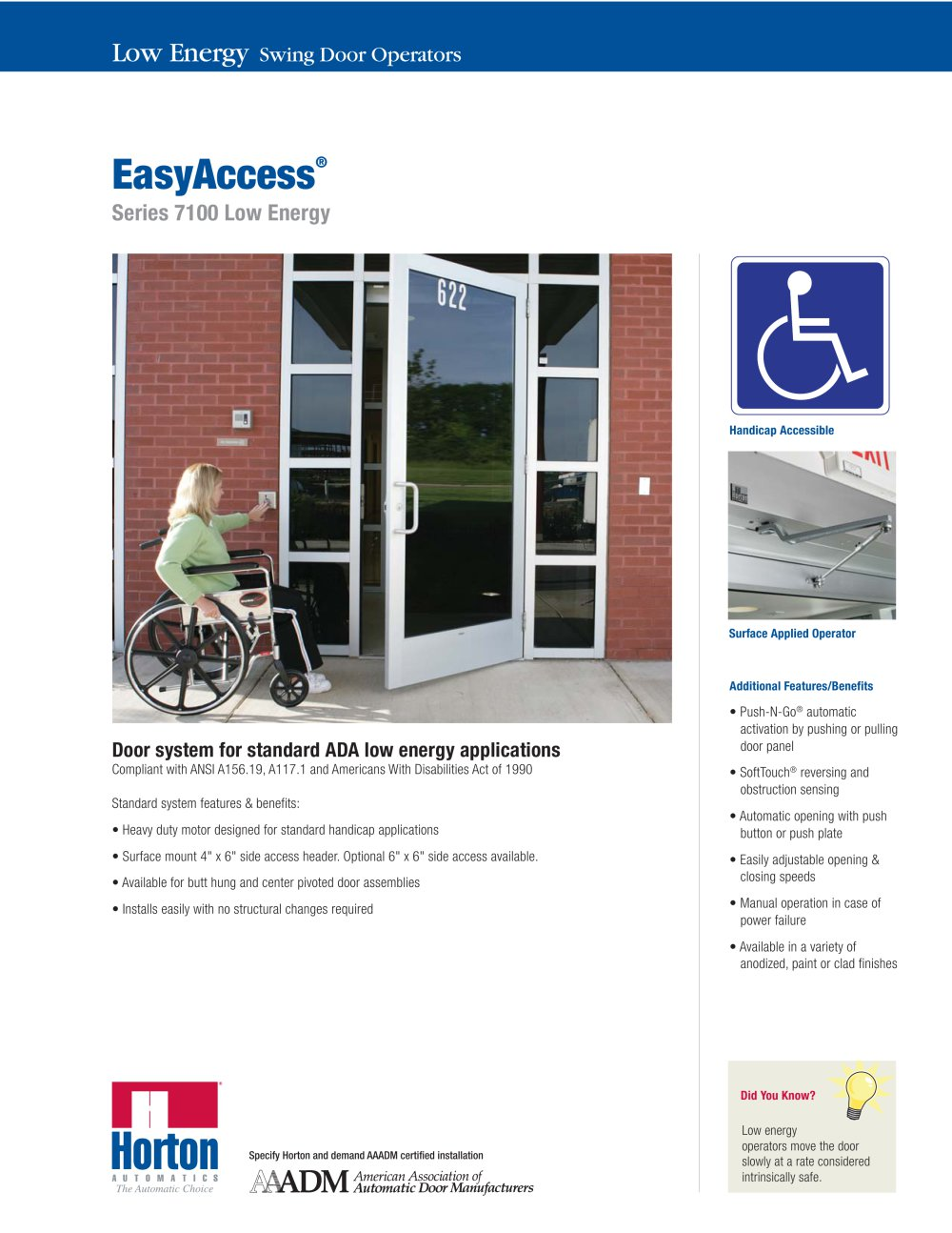 ADA Compliant Swinging - Series 7100 - 1 / 2 Pages  sc 1 st  Catalogues Medicalexpo & ADA Compliant Swinging - Series 7100 - Horton Doors - PDF Catalogue ...