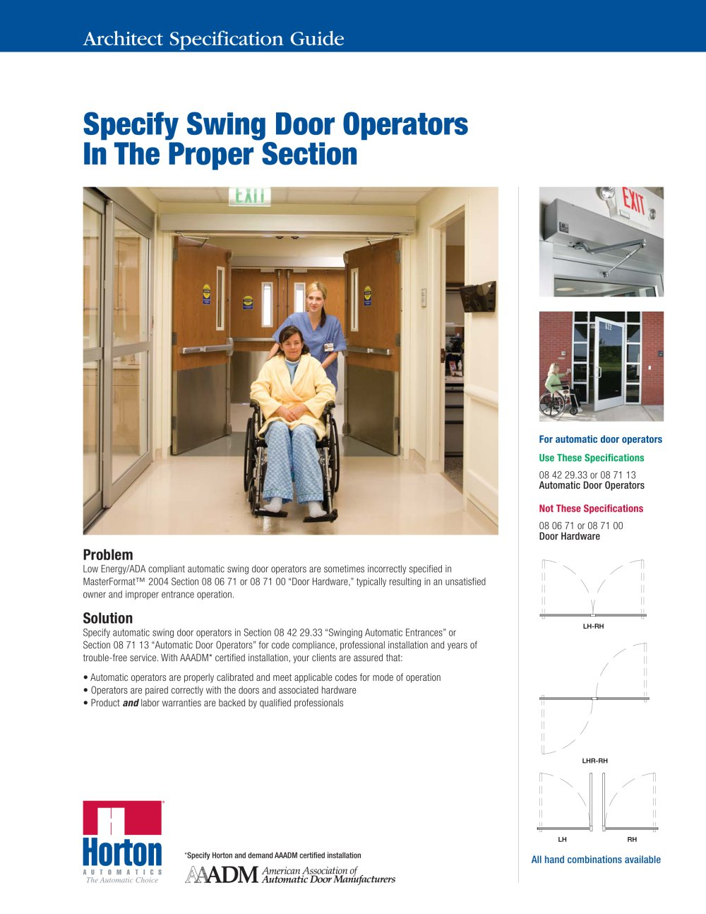 ADA Compliant Swinging - Specify Swings Doors - 1 / 2 Pages  sc 1 st  Catalogues Medicalexpo & ADA Compliant Swinging - Specify Swings Doors - Horton Doors - PDF ...