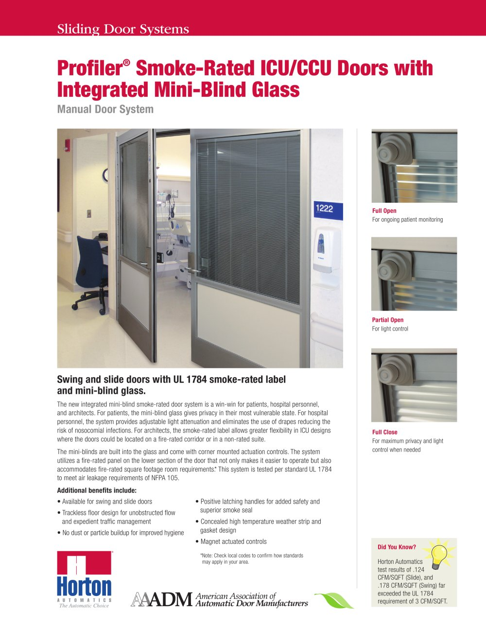 Smoke-Rated Swing and Slide ICU Door Systems with Mini-Blind Glass - 1 / 2 Pages  sc 1 st  Catalogues Medicalexpo & Smoke-Rated Swing and Slide ICU Door Systems with Mini-Blind Glass ...