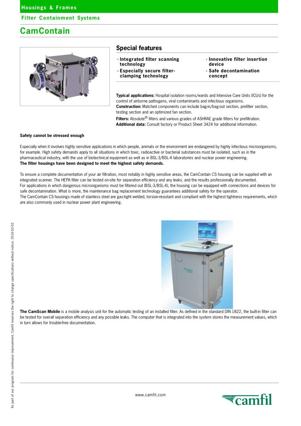 CamContain - Camfil - PDF Catalogue   Technical Documentation