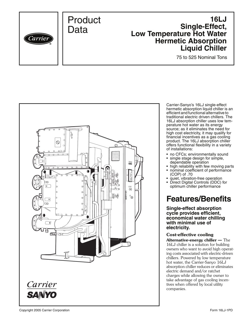 Carrier Commercial Chiller Diagram Electrical Wiring Diagrams Piping Refrigeration 16lj Single Effect Low Temperature Hot Water Hermetic Absorption
