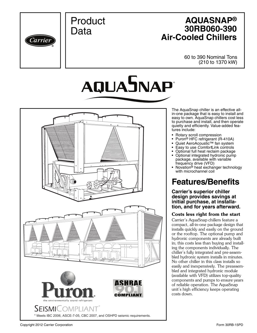 30rb aquasnap carrier commercial pdf catalogue technical rh pdf medicalexpo com manual chiller carrier 30rba Carrier Air Cooled Chillers