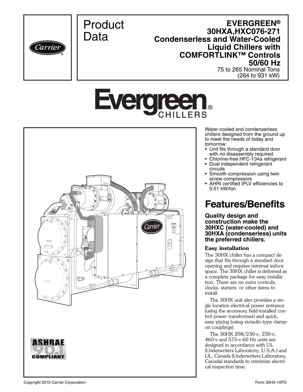 evergreen 30hxa hxc076 271 carrier commercial pdf catalogue rh pdf medicalexpo com carrier 30hxc chiller service manual HVAC Carrier Chiller Manuals