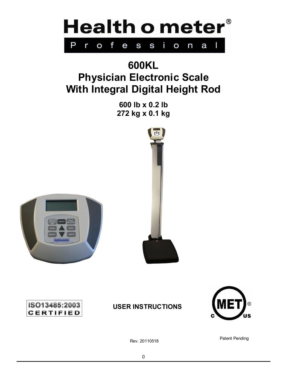 Model 600kl Health O Meter Professional Pdf Catalogue