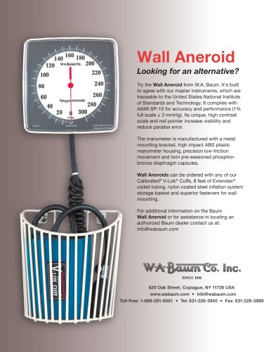 Wall Aneroid Data Sheet