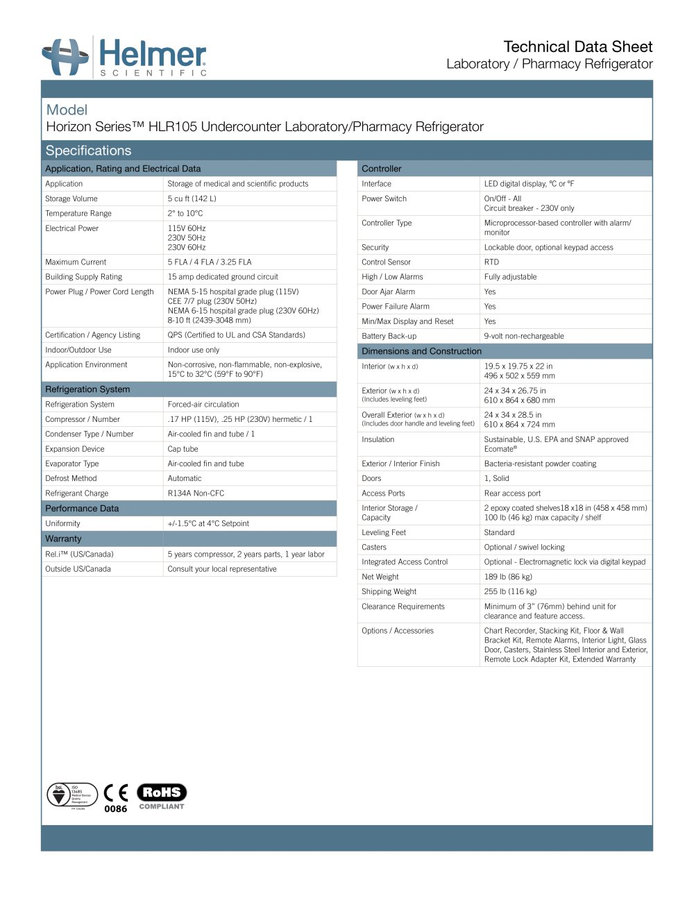 Hlr105 Undercounter Laboratory Pharmacy Refrigerator Helmer Alarm Circuit 1 2 Pages