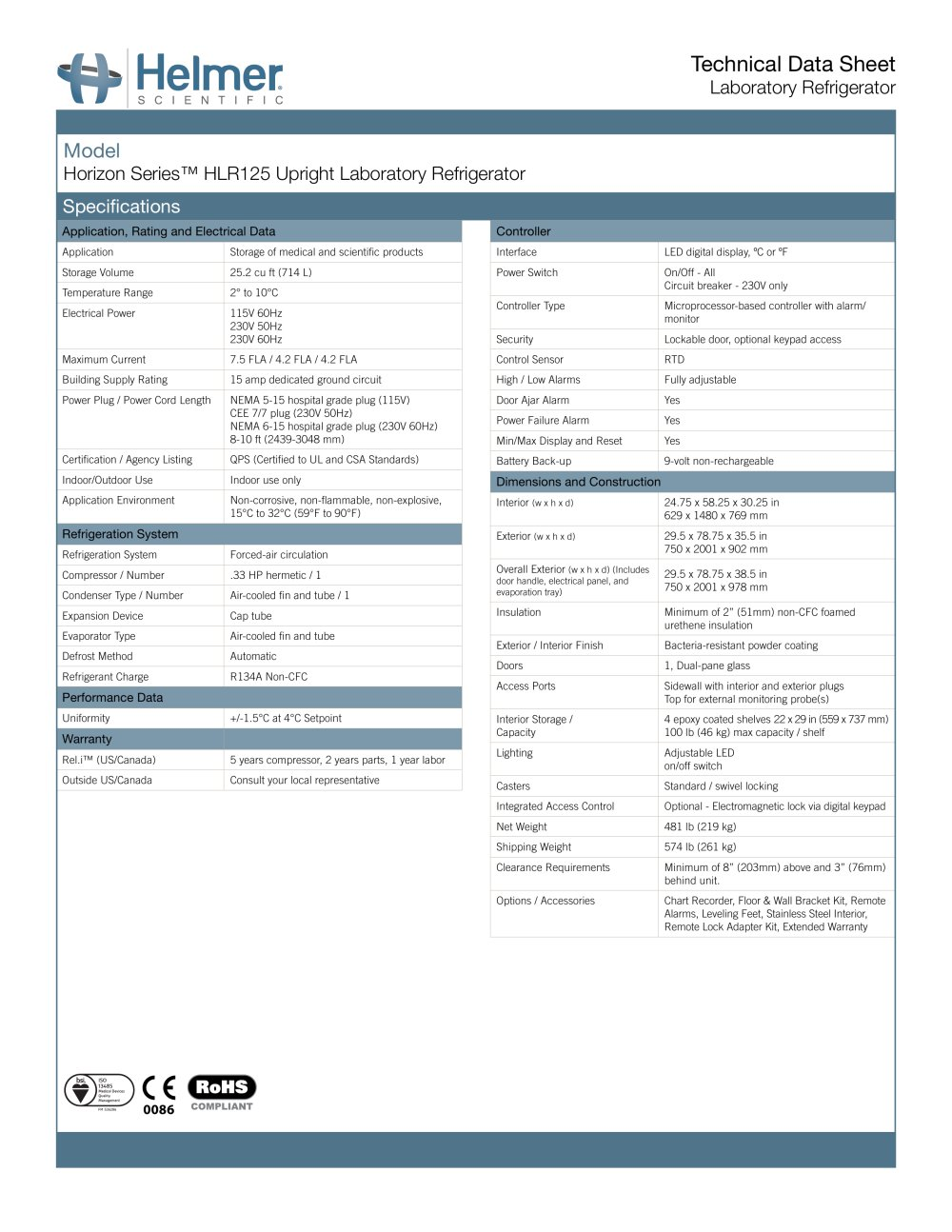 Hlr125 Laboratory Refrigerator Helmer Scientific Pdf Catalogue Alarm Circuit For Doors 1 2 Pages