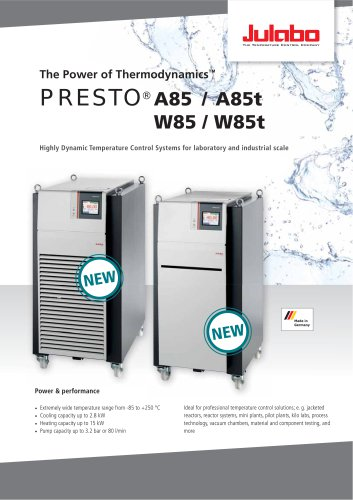 PRESTO A85 / A85t / W85 / W85t Process Circulators - Julabo - PDF