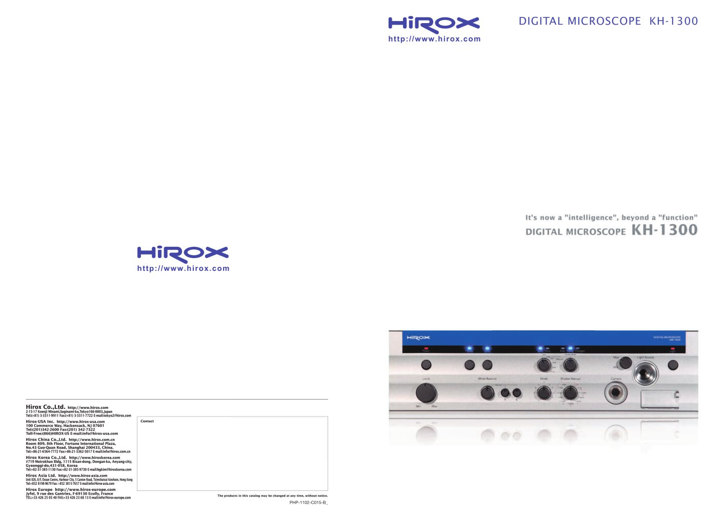 Digital Microscope Kh 1300 Hirox Europe Pdf Catalogue Wiring Diagram 1 6 Pages