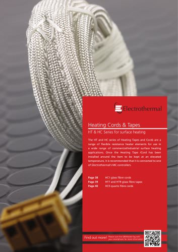 Heating Cords & Tapes HT & HC Series for surface heating