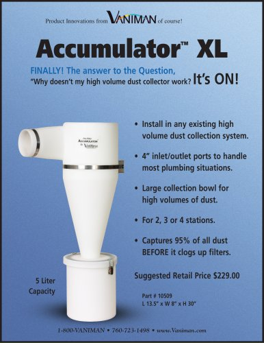Accumulator XL, Cyclone pre-filter for up to 4? hose ? 10509