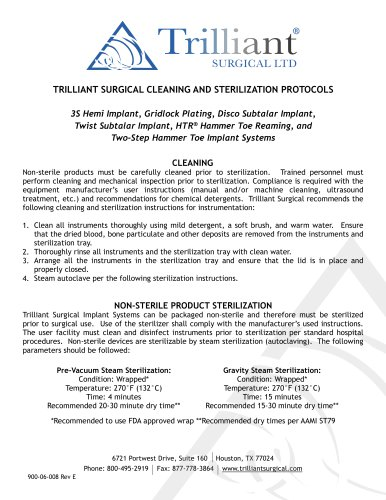 TRILLIANT SURGICAL CLEANING AND STERILIZATION PROTOCOLS
