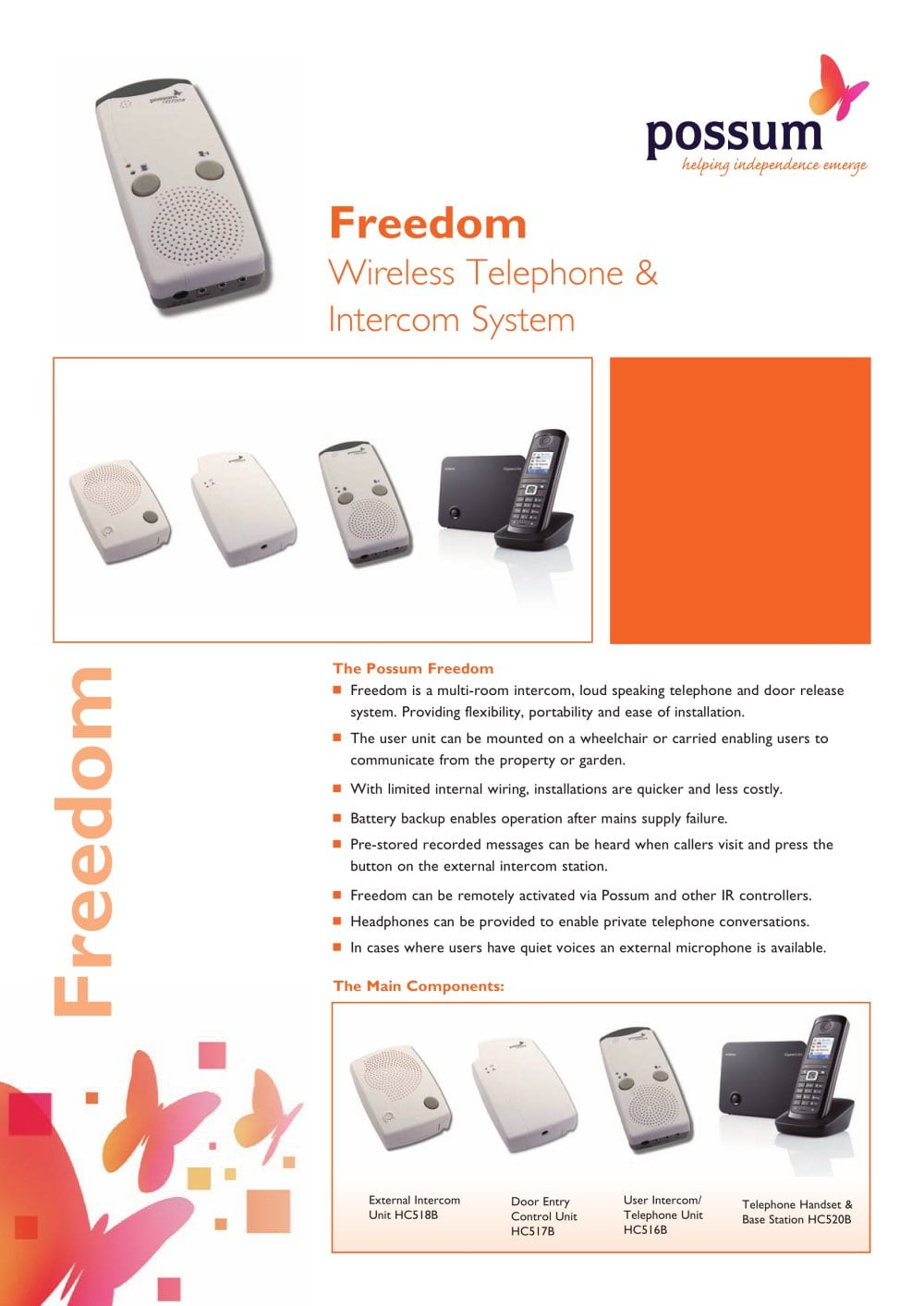 Possum Freedom Intercom Telephone And Door Release System Electronic 1 2 Pages