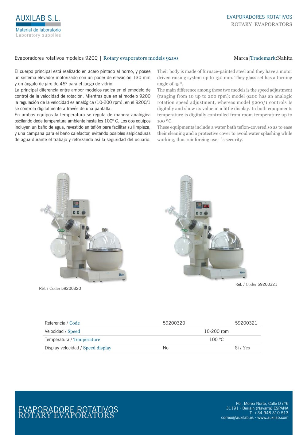 Rotary evaporator 92001 auxilab sl pdf catalogue rotary evaporator 92001 1 1 pages pooptronica Gallery