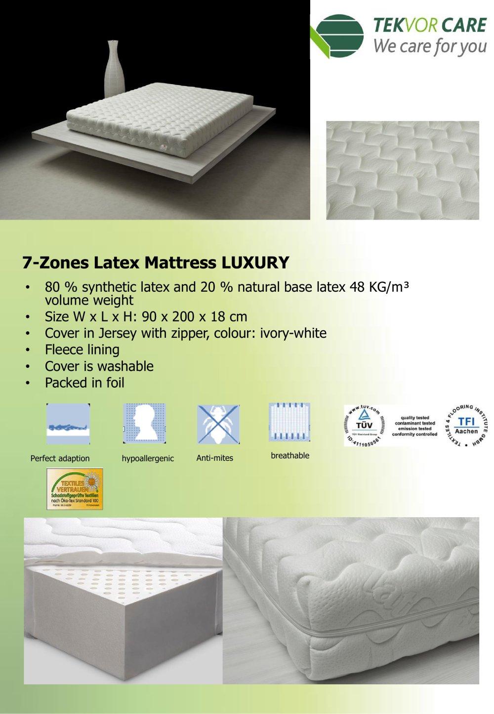 7 zones latex mattress luxury tekvor care pdf catalogue