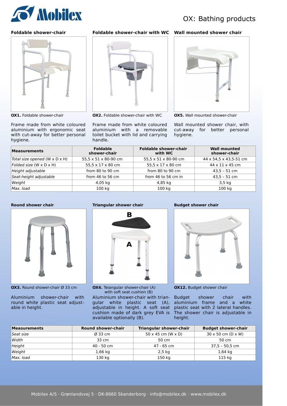 Bath Products: shower stools, swivel bath seat, etc. - Mobilex A/S ...