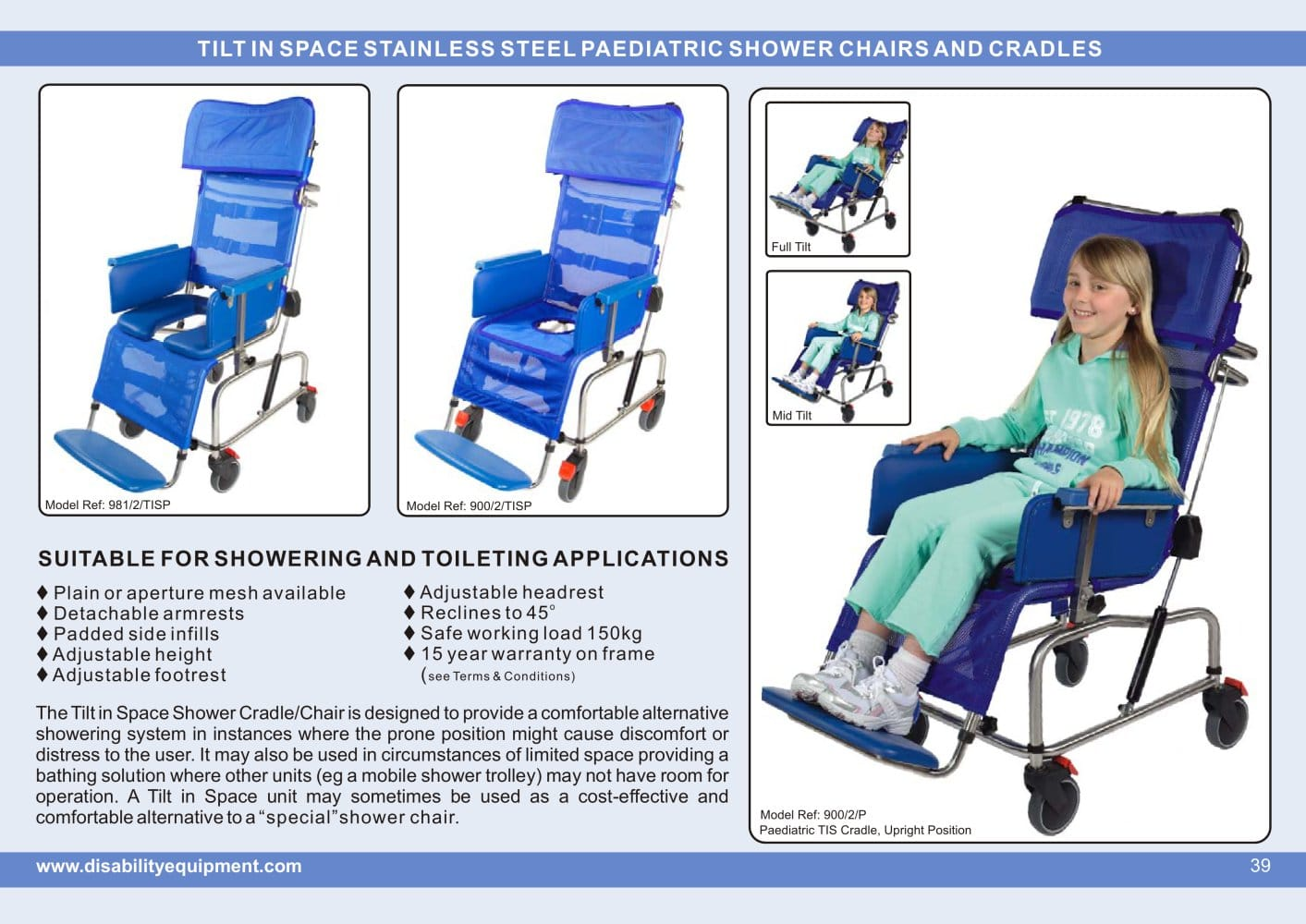 Paediatric Tilt in Space Shower Chairs and Cradles - Spectra Care ...