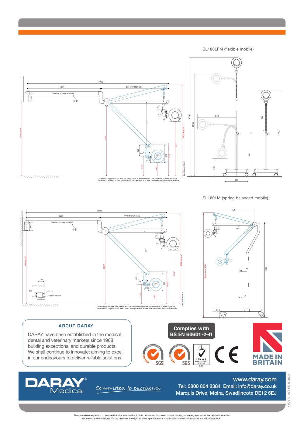 Sl180 Led Minor Surgical Light Daray Medical Pdf Catalogue Theatre Lighting Diagram 1 4 Pages