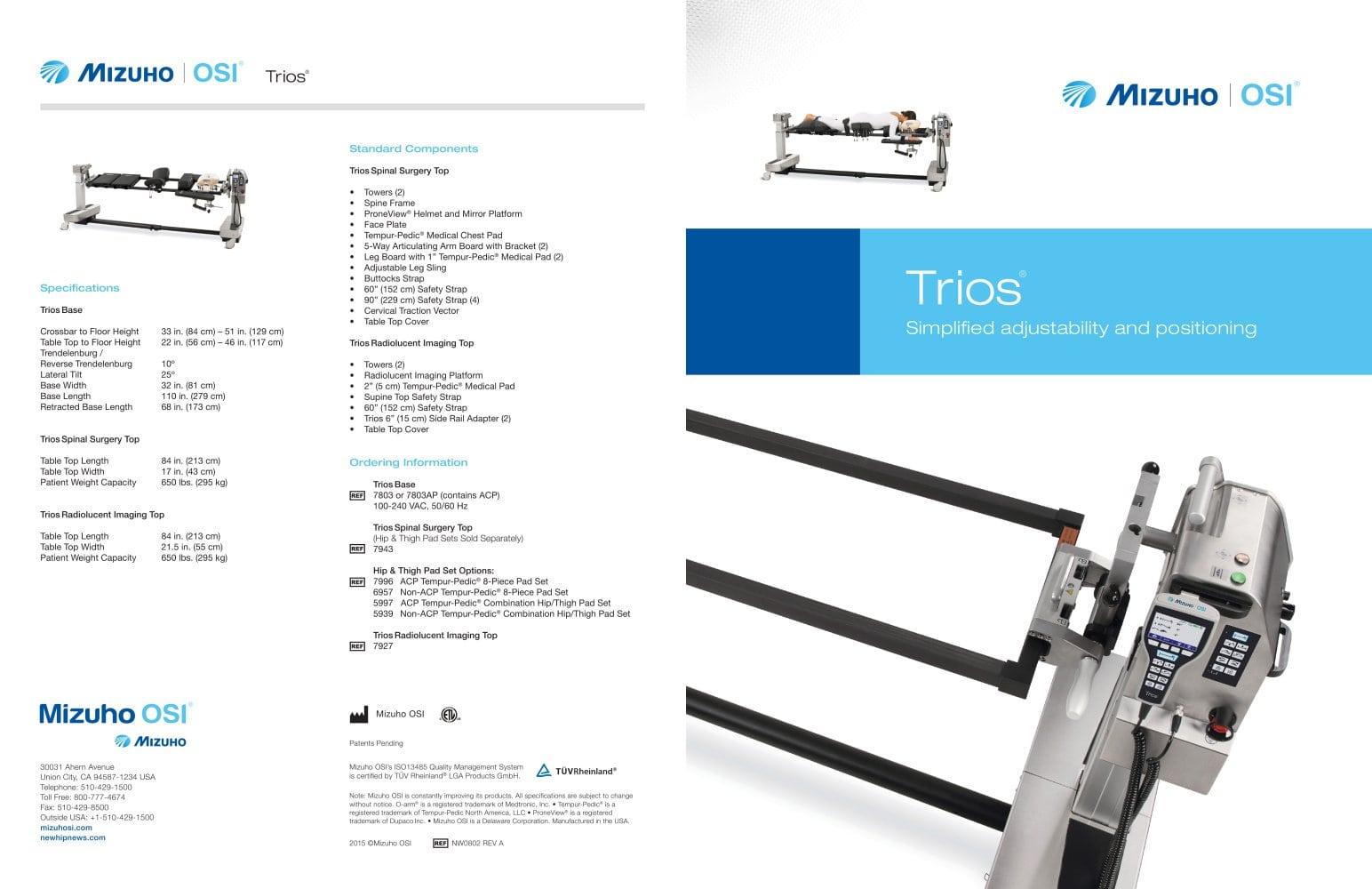 Trios® - Mizuho OSI - PDF Catalogue | Technical Documentation
