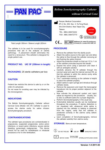 HSG Catheter Set-Bellota Sonohysterography Catheter UIC 5F