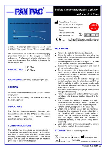 HSG Catheter Set-Bellota Sonohysterography Catheter UIC 5FA & UIC 5FAX