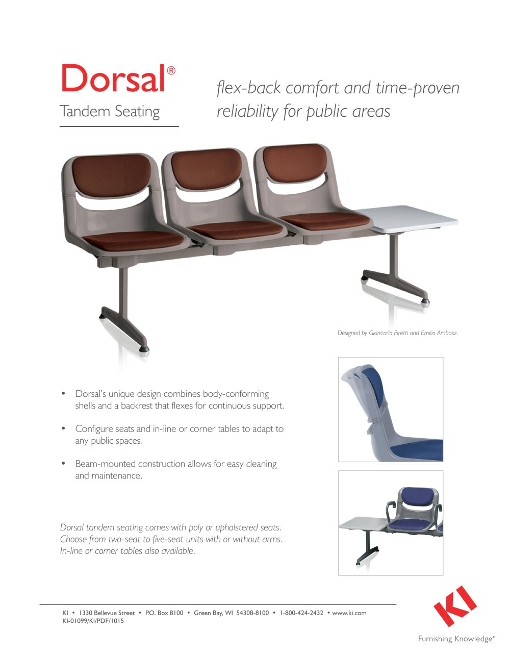 Dorsal Tandem Seating   1   1 PagesDorsal Tandem Seating   KI   PDF Catalogue   Technical Documentation. Ki Chairs Green Bay. Home Design Ideas