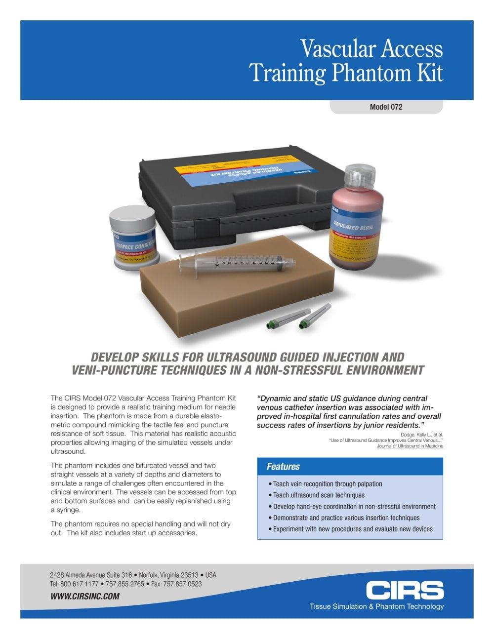 Vascular Access Training Phantom Kit Cirs Pdf Catalogue