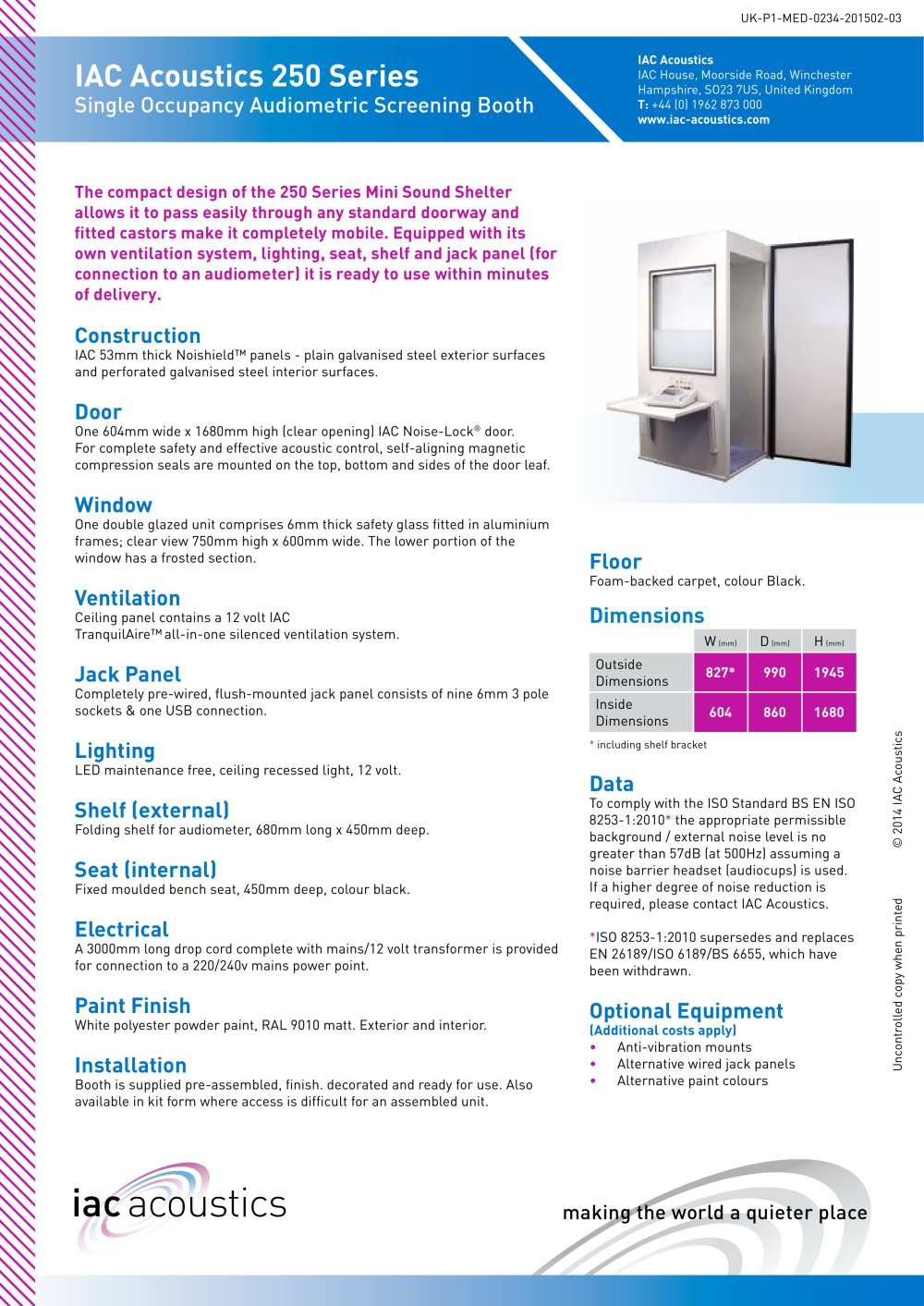 IAC Acoustics 250 Series Single Occupancy Audiometric Screening Booth - 1 / 1 Pages  sc 1 st  Catalogues Medicalexpo & IAC Acoustics 250 Series Single Occupancy Audiometric Screening ...