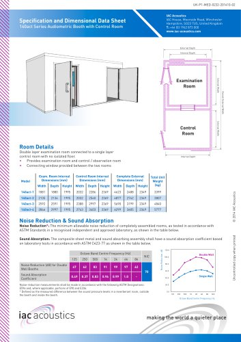 Specification and Dimensional Data Sheet 140act Series Audiometric Booth with Control Room
