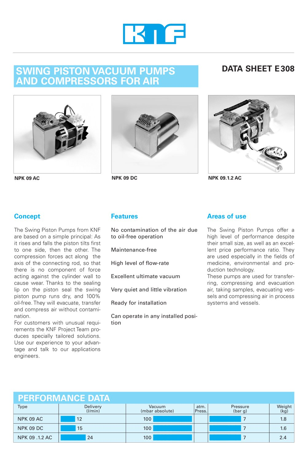 Swing Piston Vacuum Pumps And Compressors For Air Knf Pdf Pump Diagram Or Only The 1 4 Pages