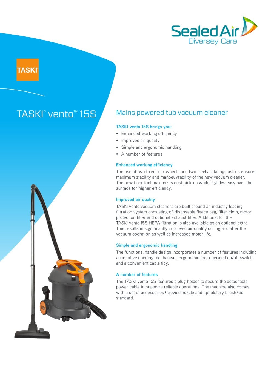 taski vento 15s taski pdf catalogue technical documentation rh pdf medicalexpo com Diversey Taski Cleaning Cart Diversey Taski Cleaning Cart
