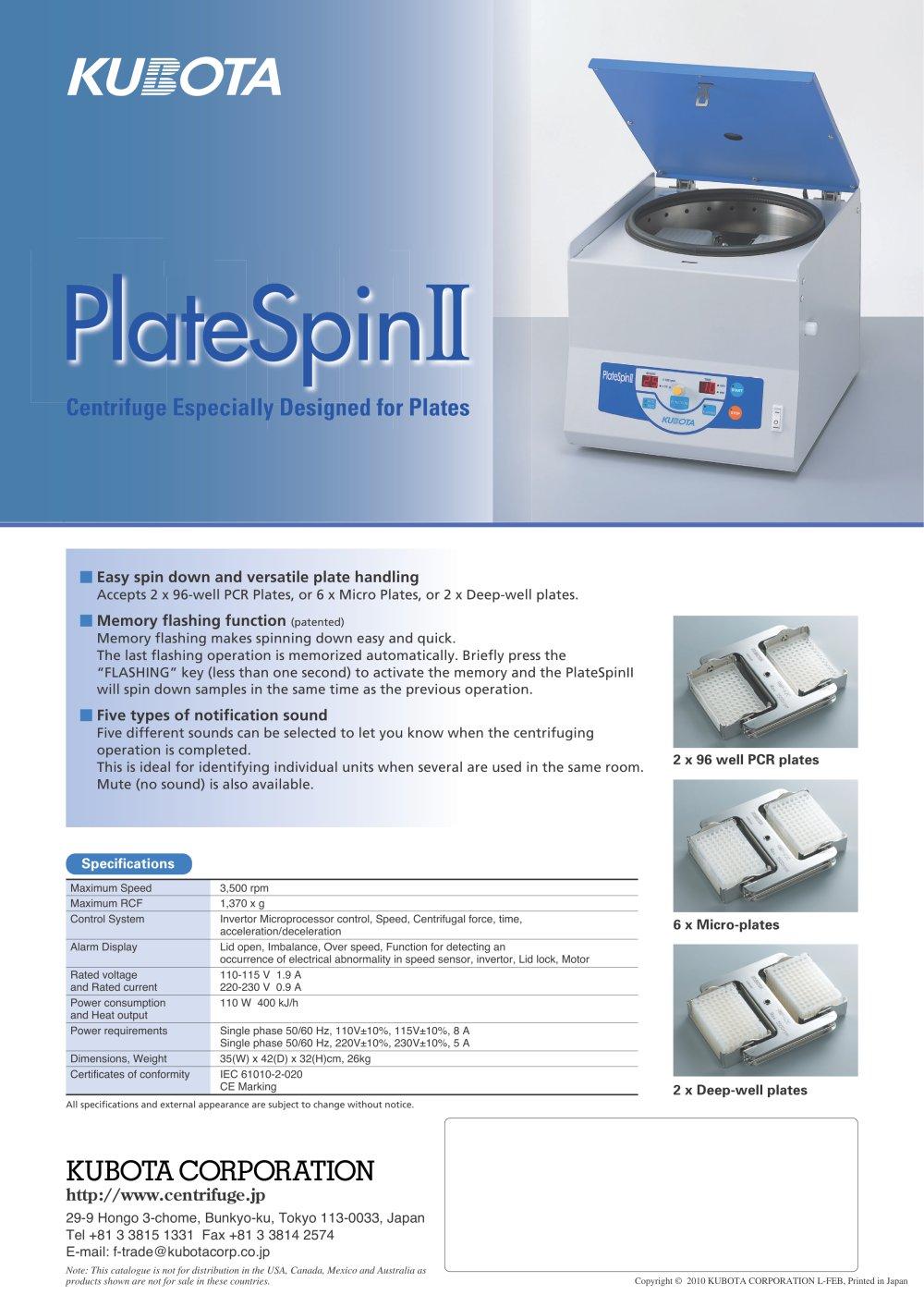 plate centrifuge platespin ii kubota pdf catalogue technical rh pdf medicalexpo com