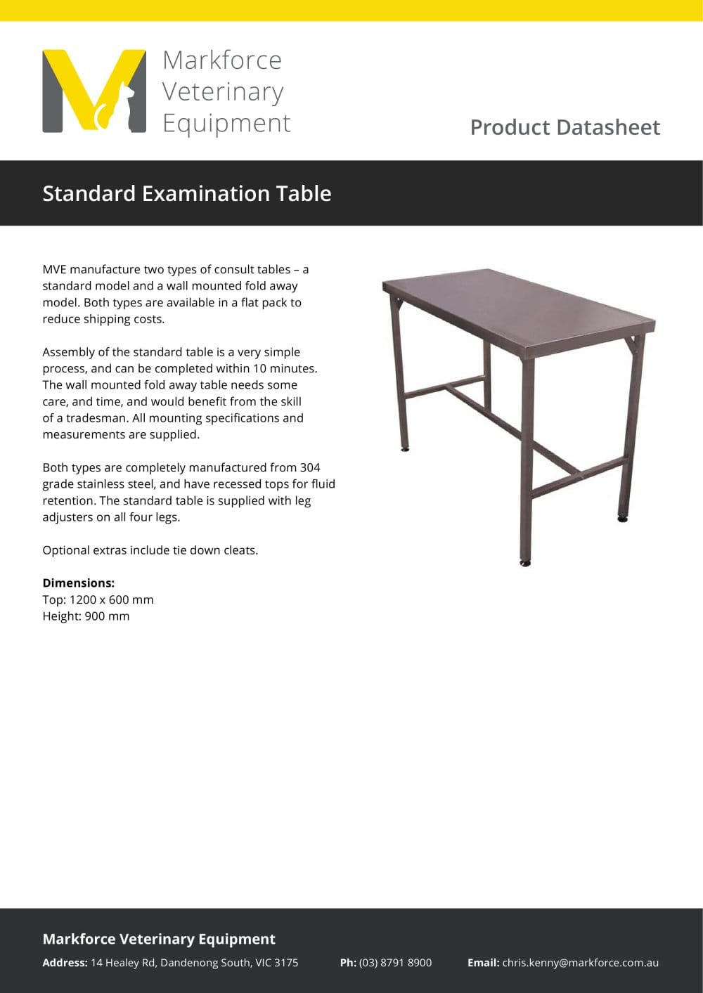 Standard Examination Table 1 Pages