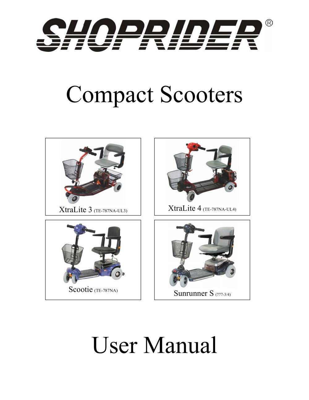 Compact Scooters - Shoprider - PDF Catalogs | Technical