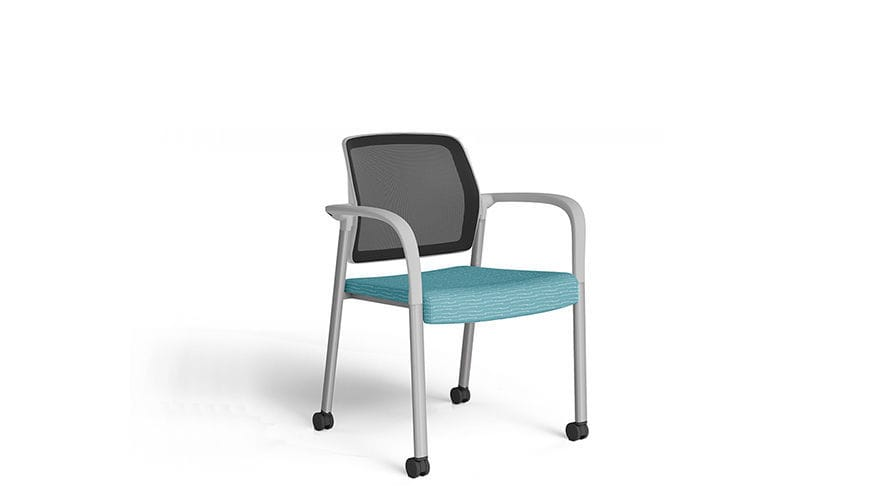 Waiting Room Chair With Armrests On Casters Stackable