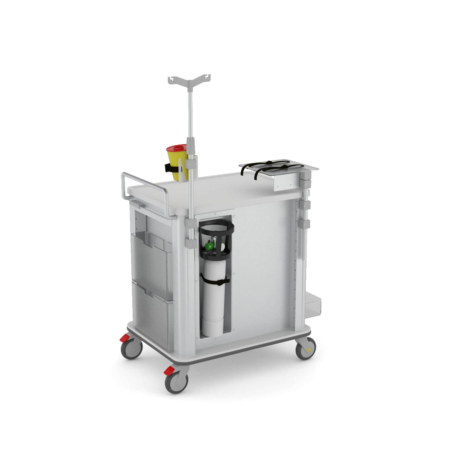 Emergency trolley / storage / defibrillator / with oxygen