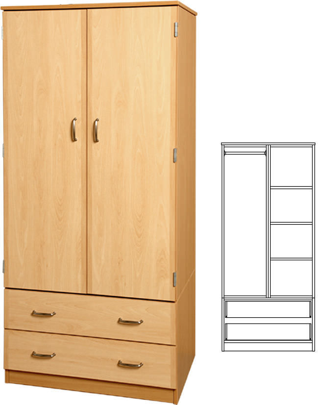 Storage cabinet - WSU - Tough Furniture - hospital / 2-door / 2-drawer