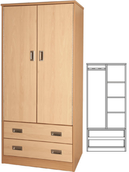 Hospital cabinet - SF-WSU - Tough Furniture - with shelf / 2-door
