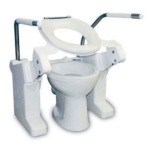 tilting raised toilet seat / height-adjustable / with armrests