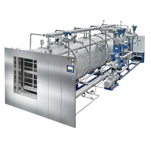 sterilizer for the pharmaceutical industry / superheated water / floor-standing / horizontal