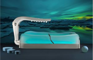 hydromassage bathtub with Vichy shower / with chromotherapy lamps
