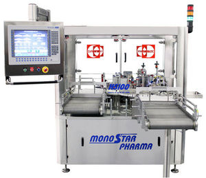 bottle labeling machine / for vials / for syringes / for drug ampoules